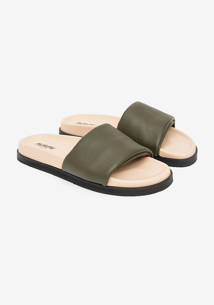 One strap leather sandal green - AVAVAV-Firenze