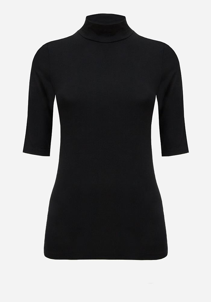 Short Sleeve Turtleneck in Black - AVAVAV-Firenze