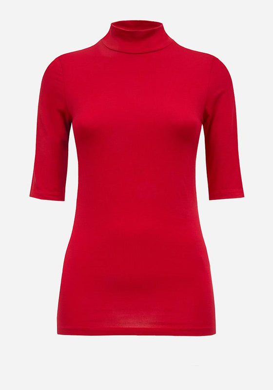 Short Sleeve Turtleneck in Red - AVAVAV-Firenze (1688673386565)