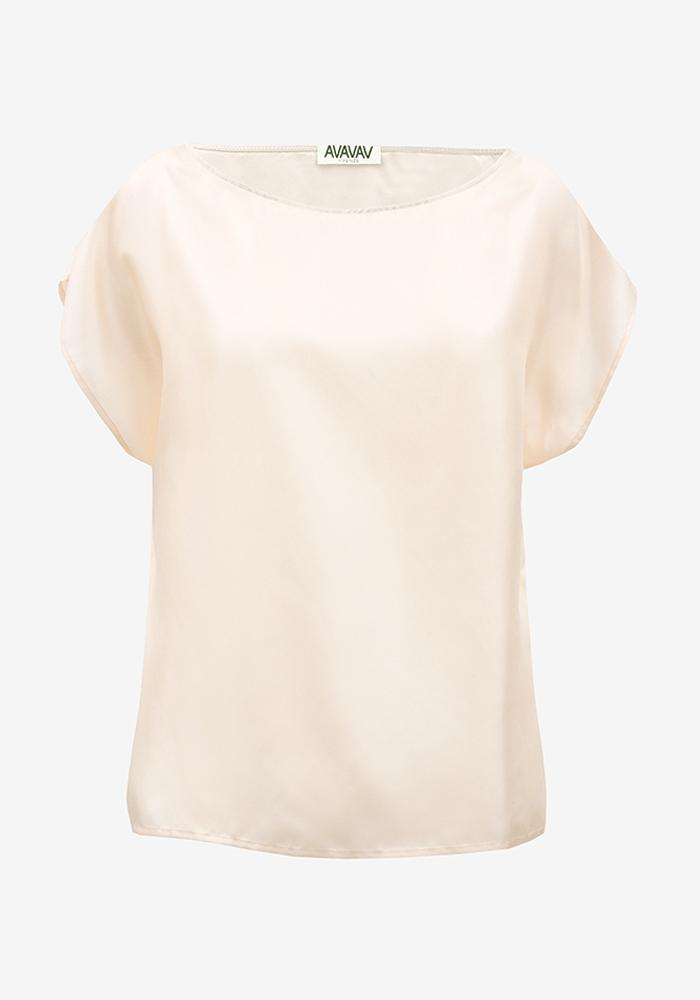 Silk Boatneck Tee in Peach - AVAVAV-Firenze