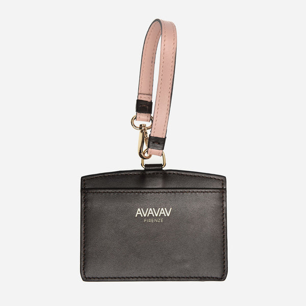 Luggage Tag/ Card Holder in Warm Black