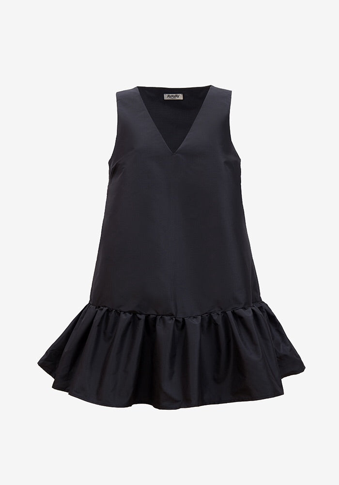 V-Neck Ruffle Dress, Black (3924684111941)