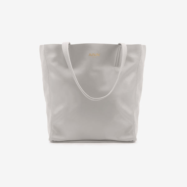 Large Tote Leather Bag in Grey