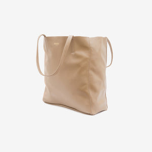 Large Tote Leather Bag in Taupe