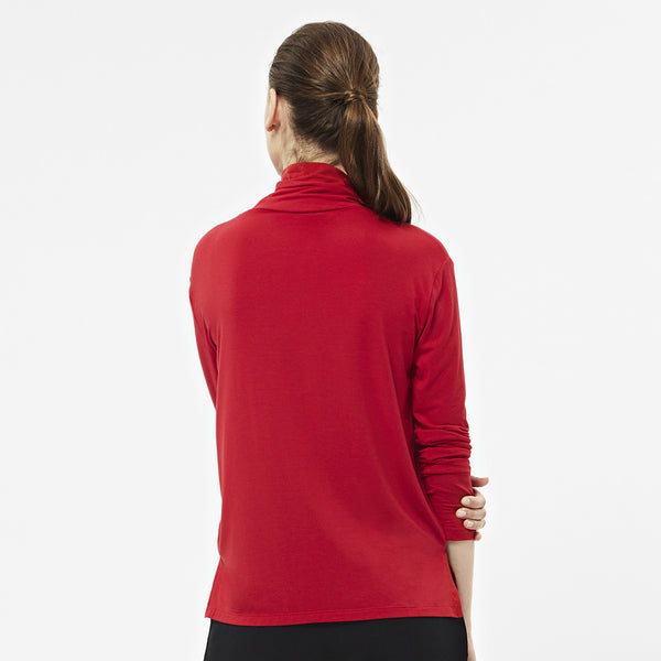 Long Sleeve Polo in Red