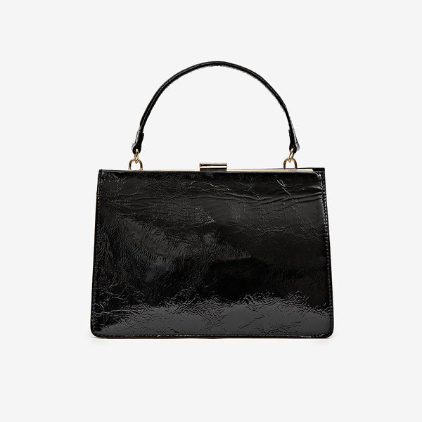 Sharp Leather Bag, Black