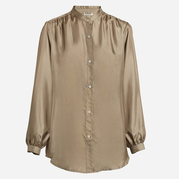 Silk Puff Blouse in Taupe