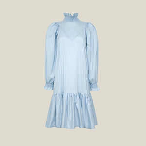 Smock Ruffle Dress, Light Blue