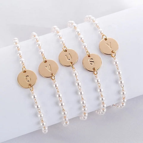 Pearl beads initial Bracelets