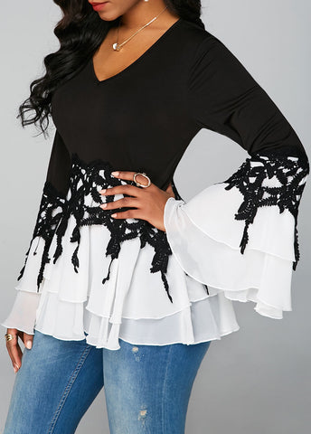 Neck Flare Sleeve Chiffon Panel Blouse