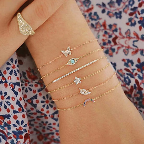6 Pcs/Set Punk Butterfly Eye Star Moon Leaves Crystal Gem Shiny Gold Multilayer Chain Bracelet