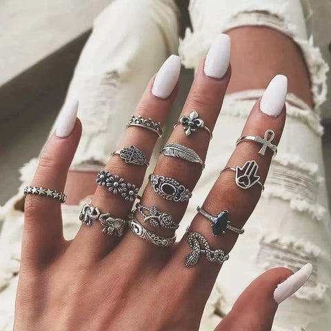14pcs/set New Creative Vintage Animal Snake Elephant Leaf Palm Antique Silver Rings Sets