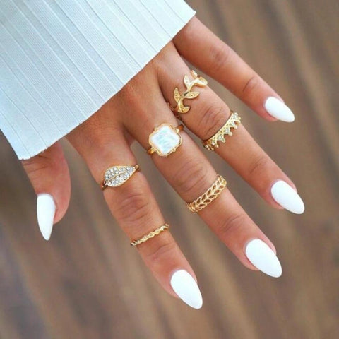 6Pcs/Set Leaf Crown Rhinestone Stacking Midi Knuckle Finger Ring