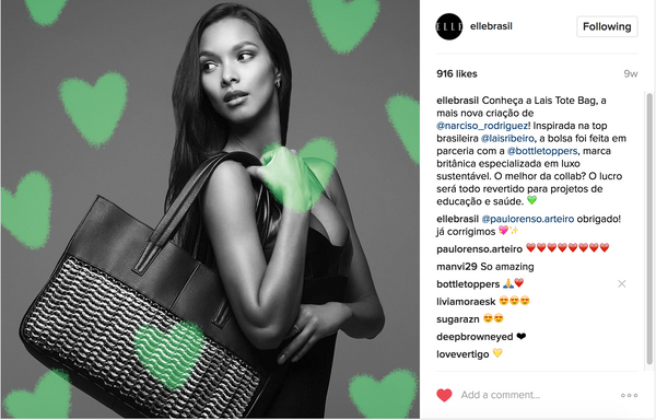 Lais Ribeiro with the Lais Tote by Narciso Rodriguez (heart) Bottletop