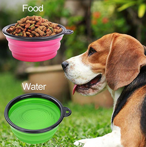 Portable Silicone Dog Bowl. Collapses Flat!