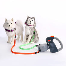 "Load image into Gallery viewer, Dual 2 Dogs - 1 Leash. Retractable  9' 8"" Length Up to 50lbs"