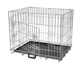Foldable Metal Kennel Crate with Double-Doors. 4 Sizes M L XL XXL