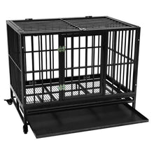 Load image into Gallery viewer, 42 inch Portable Heavy Duty Iron-Metal Kennel Crate with Tray Travel Wheels