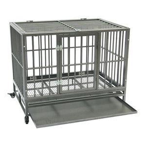 42 inch Portable Heavy Duty Iron-Metal Kennel Crate with Tray Travel Wheels