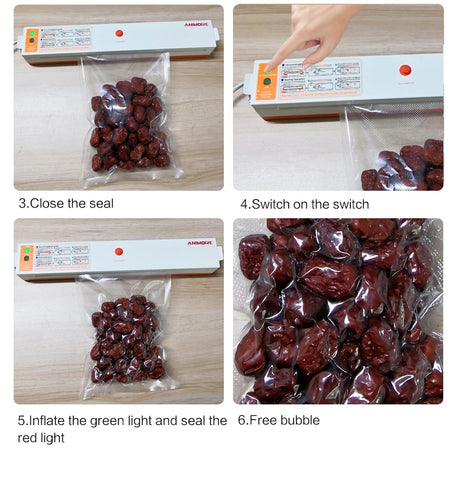 Image of Household Food Vacuum Sealer Including 15PCS Bags
