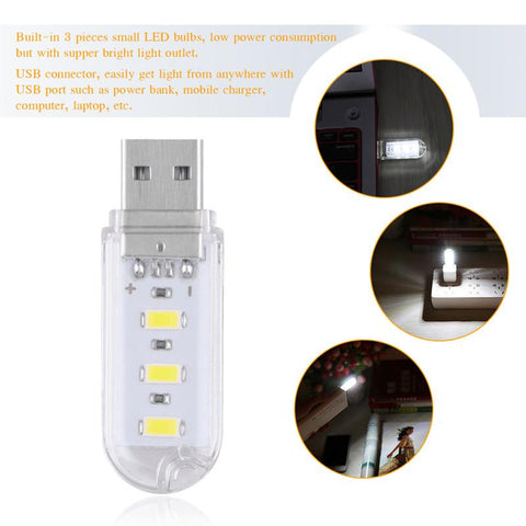 Portable Mini 3-LED USB Light