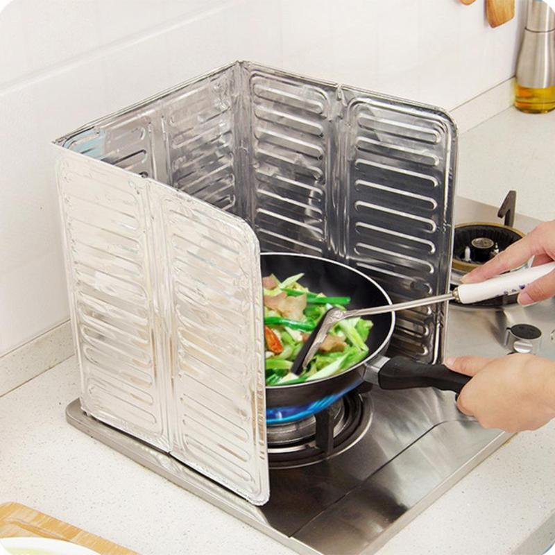Kitchen Oil Splatter Screens Aluminium Foil Plate Gas Stove Splash Proof Baffle Home Kitchen Cooking Tools Gadgets