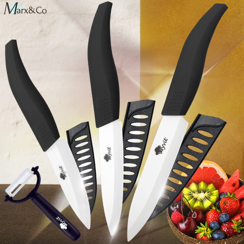 Ceramic Kitchen Chef Knife Set With Peeler