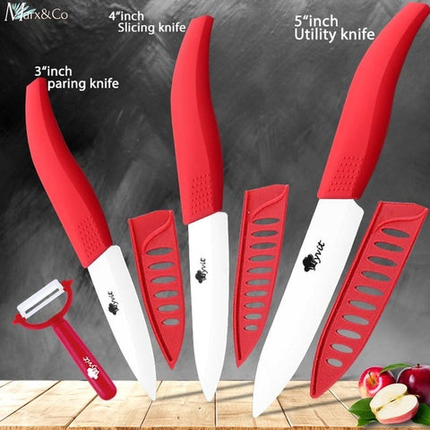 Image of Ceramic Kitchen Chef Knife Set With Peeler
