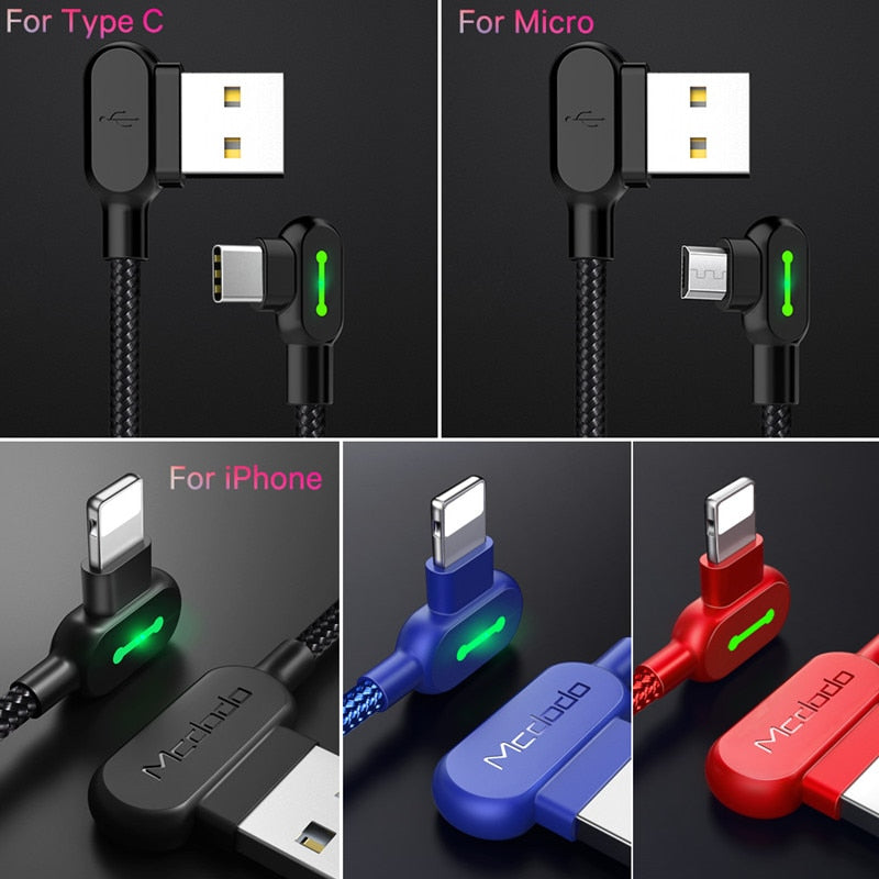 Led Indicator iPhone Samsung Fast Charging Cable