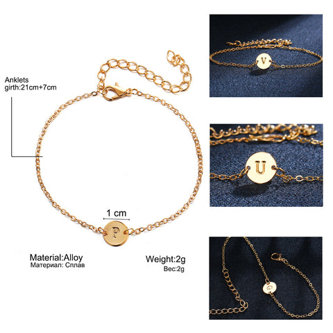 Adjustable Gold Color Letter Bracelet