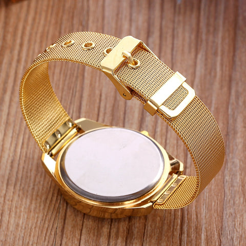 Image of Golden Metal Crystal Ladies Watches