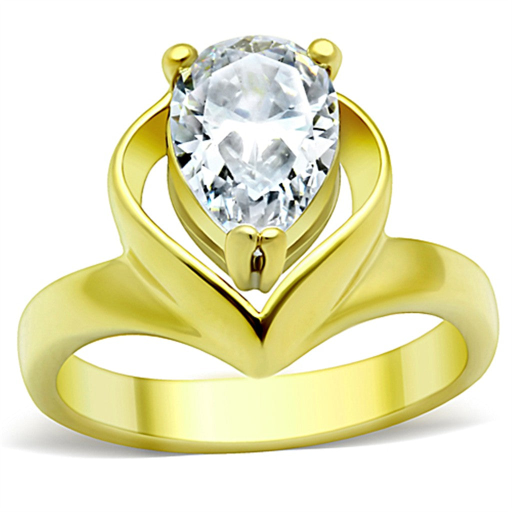 TK389G IP Gold(Ion Plating) Stainless Steel Ring with AAA Grade CZ in Clear