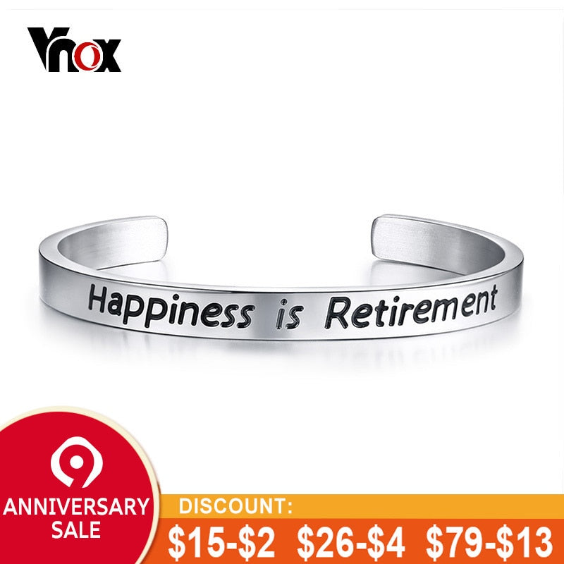 Vnox Classic Happiness is Retirement Bangle for Women Stainless Steel Open Cuff Bracelets Female Retire Gift