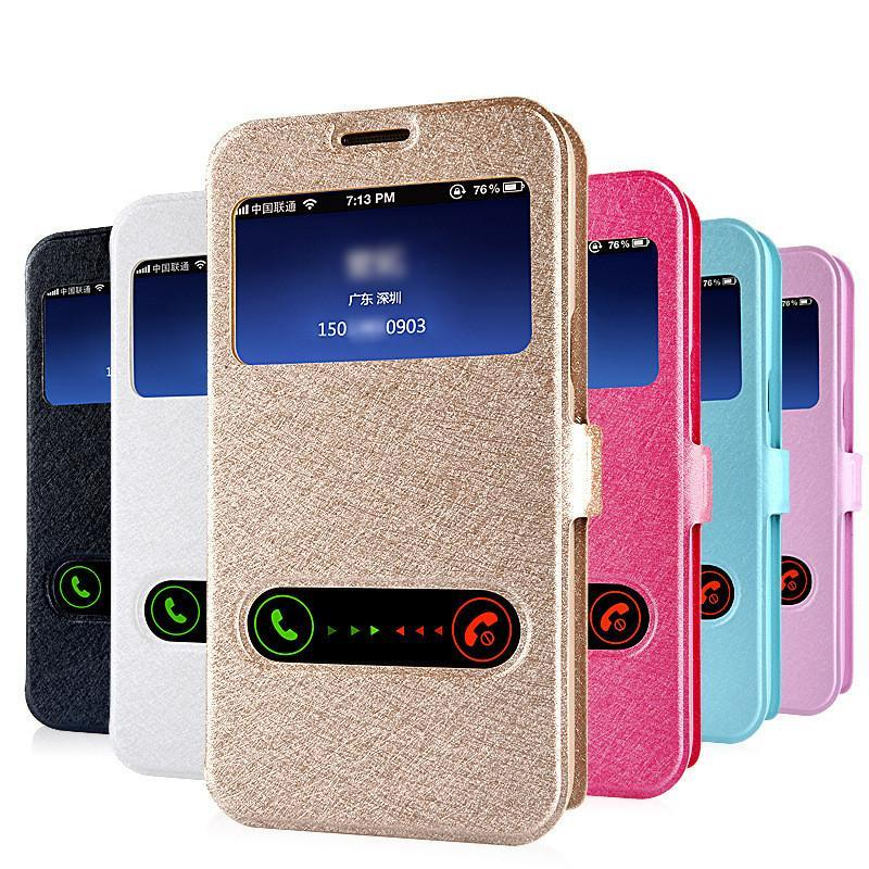 Smart Front Window View Leather Flip Cover For Samsung Galaxy