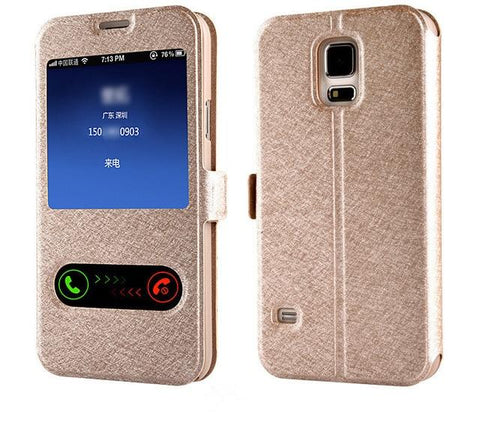 Image of Smart Front Window View Leather Flip Cover For Samsung Galaxy