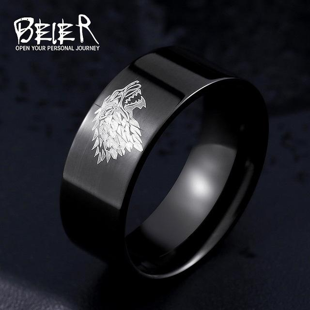 Stainless Steel Ring Game Of Thrones Ice Wolf House Stark