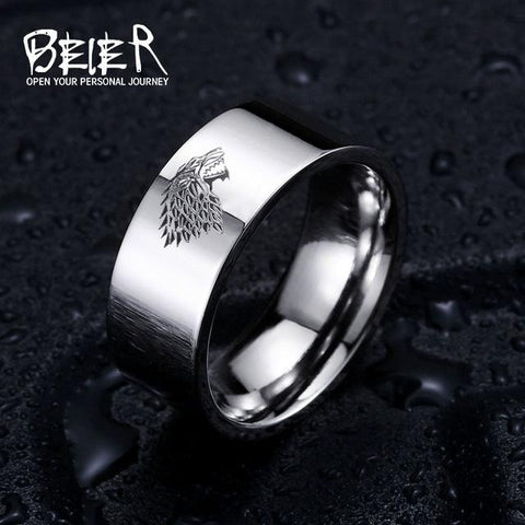 Image of Stainless Steel Ring Game Of Thrones Ice Wolf House Stark