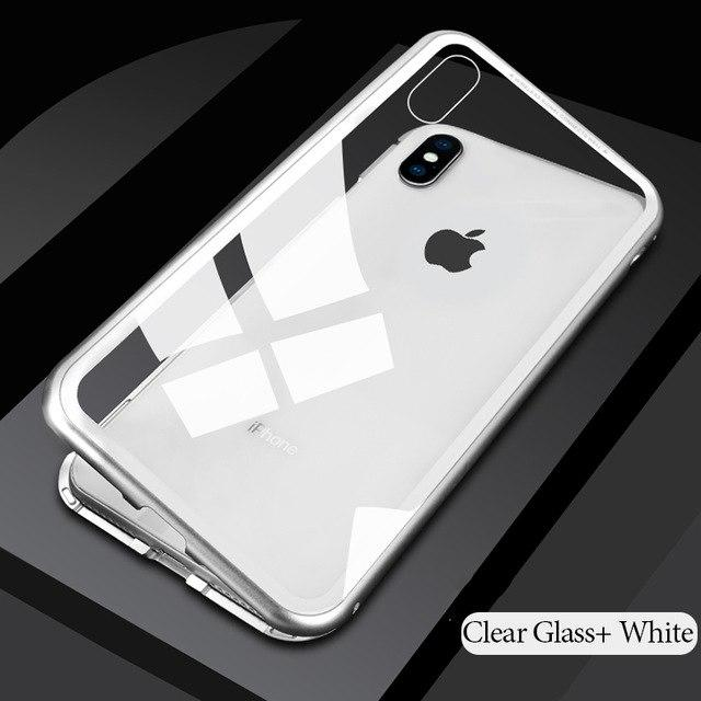 Ultra Magnetic Phone Case For IPhone X 7 8 - 9H Tempered Glass Cover