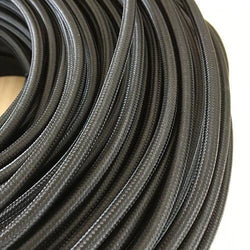 Braided Black Cloth Covered Cable | 3 Core 0.75mm Flex Per Metre