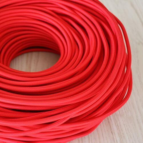 Braided Red Cloth Covered Cable | 3 Core 0.75mm Flex Per Metre