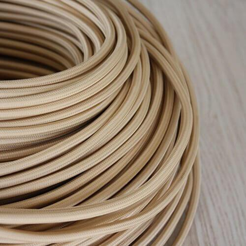 Braided Beige Cloth Covered Cable | 3 Core 0.75mm Flex Per Metre | Rustic Lighting Co.