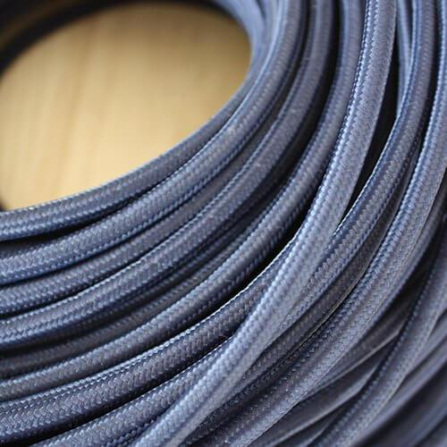 Braided Navy Cloth Covered Cable | 3 Core 0.75mm Flex Per Metre