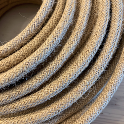 Braided Jute Rope Style Cloth Covered Cable | 3 Core 0.75mm Flex Per Metre