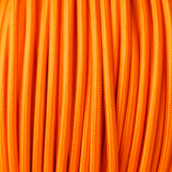 Braided Orange Cloth Covered Cable | 3 Core 0.75mm Flex Per Metre