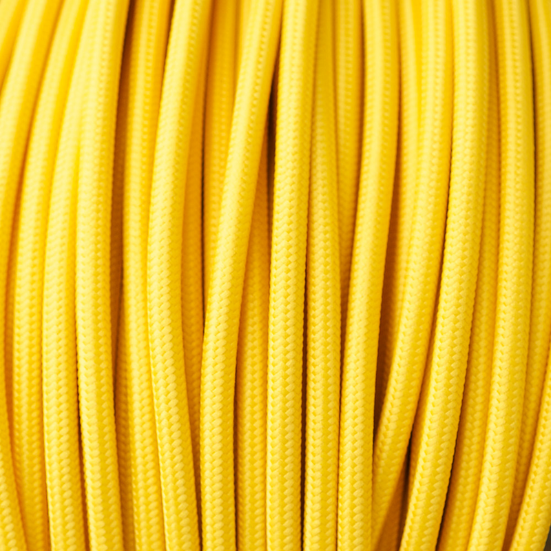 Braided Yellow Cloth Covered Cable | 3 Core 0.75mm Flex Per Metre