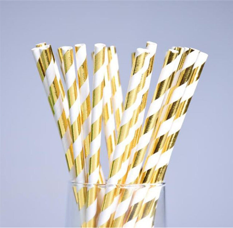 Gold Blocking Paper Straws-suitable for many occasions