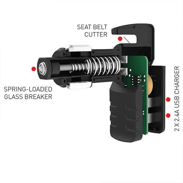 3-in-1 Car Multi-functional Tool, Emergency Escape Tool, Phone Charger, Belt Cutter