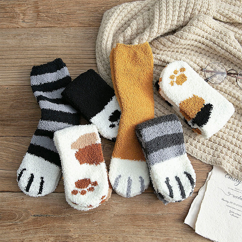 Coral Fleece Cat Claws Socks