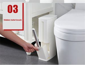 One-Piece Trash Can Toilet Brush Integrated Storage Holder Box - Small Garbage Can with Swing Lid Toilet Brush White
