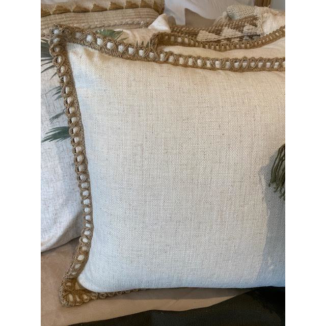 jute linen cushion - beige 50x50